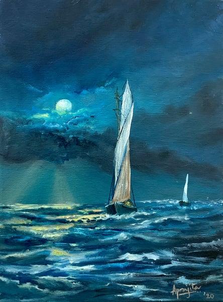 """""""Moon-lit Stormy Seas"""" in Oils by Aprajita Lal"""