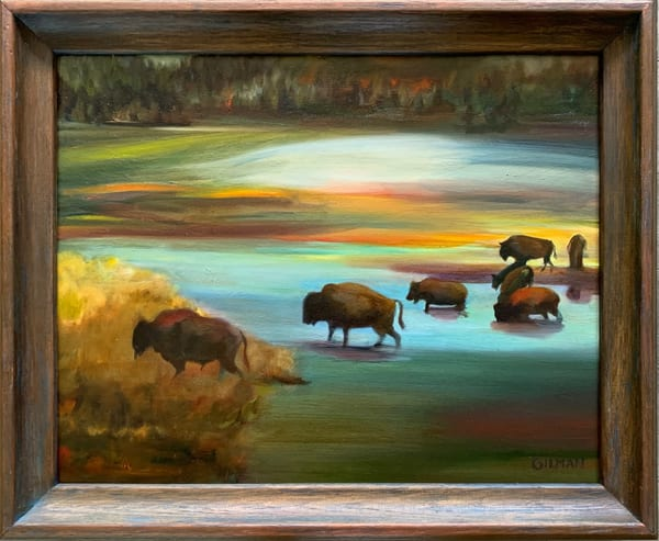 Yellowstone Bison Expressionist Oil on Canvas Painting