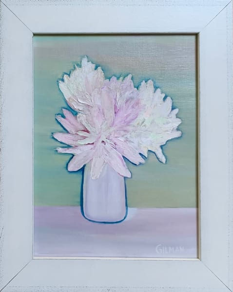 Peonies in a Vase Original Oil on Linen Canvas