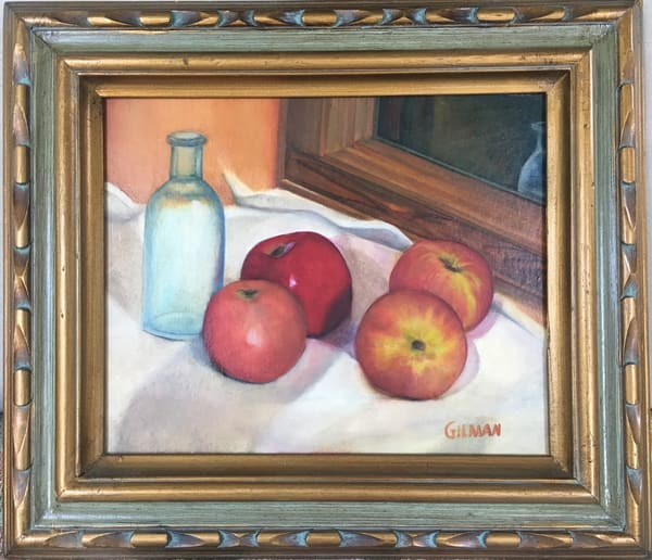 """Apples and Blue Bottle"" Oil on Masonite still life painting"