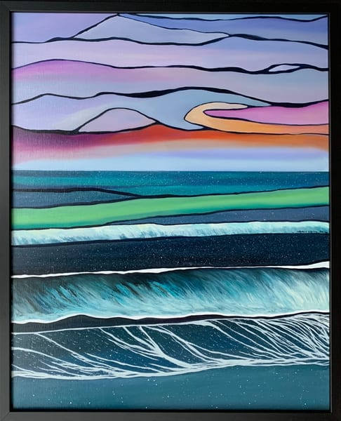 """Ocean Strata"" Jazz Inspired Oil on Linen Canvas Abstract Painting"