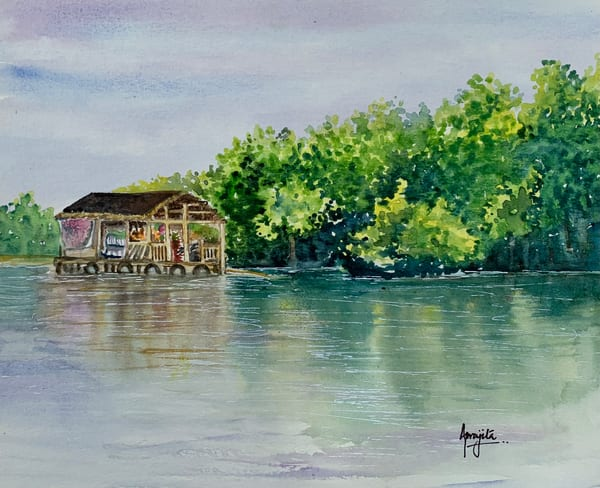 """A Floating House"" in watercolors by Aprajita Lal"
