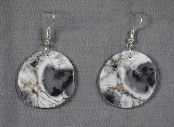 MaryAnn Swinney - handcrafted jewelry - earrings - black and white - Dondritic Opal Round Earrings