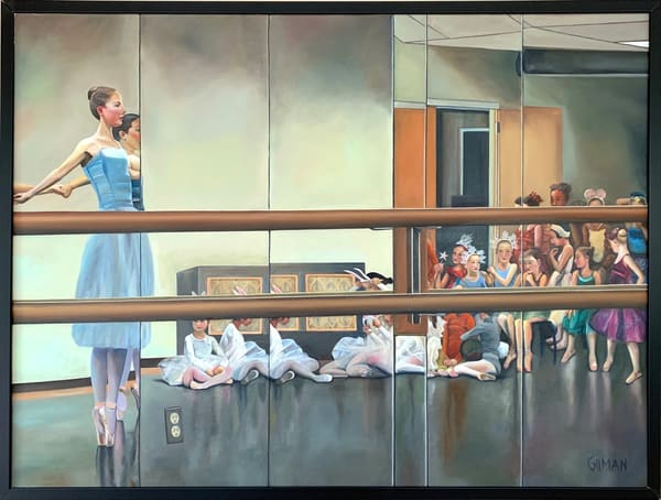 """Studio Reflection"" Ballet Rehearsal with Barre and Mirrored Image Original Oil on Canvas Painting"