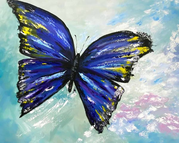 Jo Neill   Blue Butterfly   Original Art | Branson West Art Gallery - Mary Phillip
