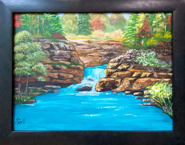 Jo Neill   Ozark Waterfall In Fall   Original   Framed Art | Branson West Art Gallery - Mary Phillip