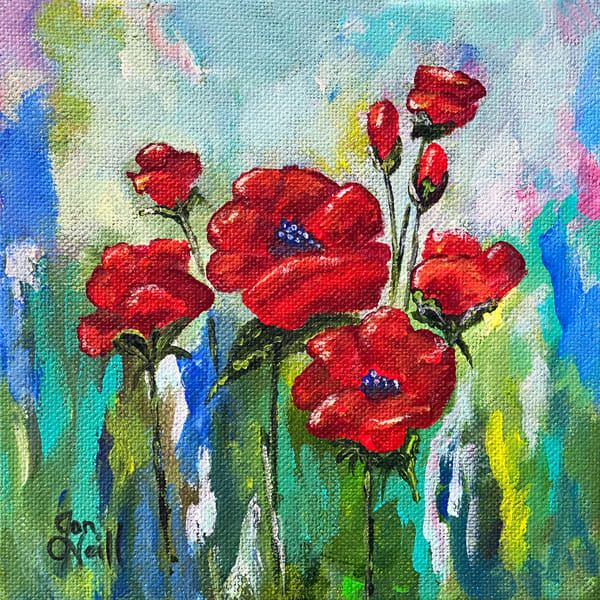 Jo Neill   Red Poppies Small Art | Branson West Art Gallery - Mary Phillip