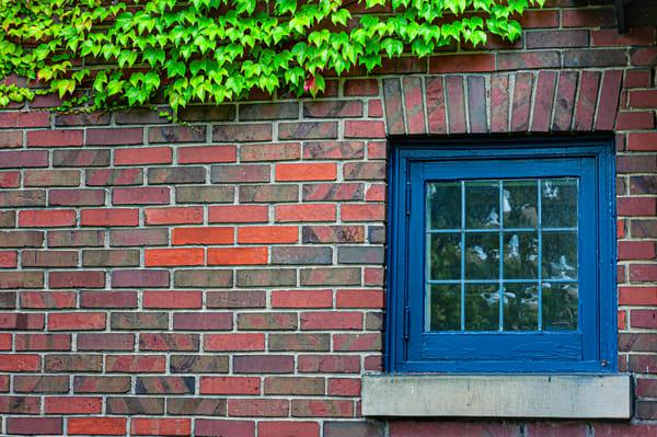 Blue Window In Brick