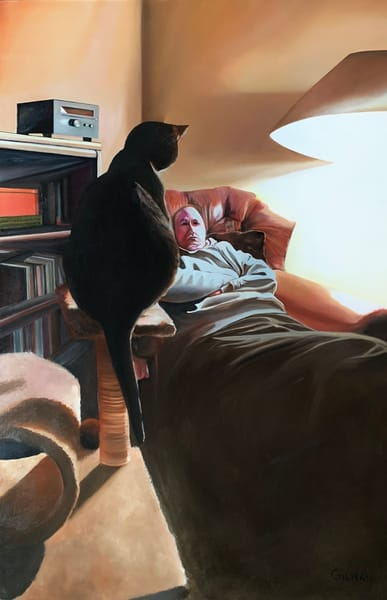 Feeding Time aka Cat vs. Man Stare Down! Original Oil on Wood Panel Painting