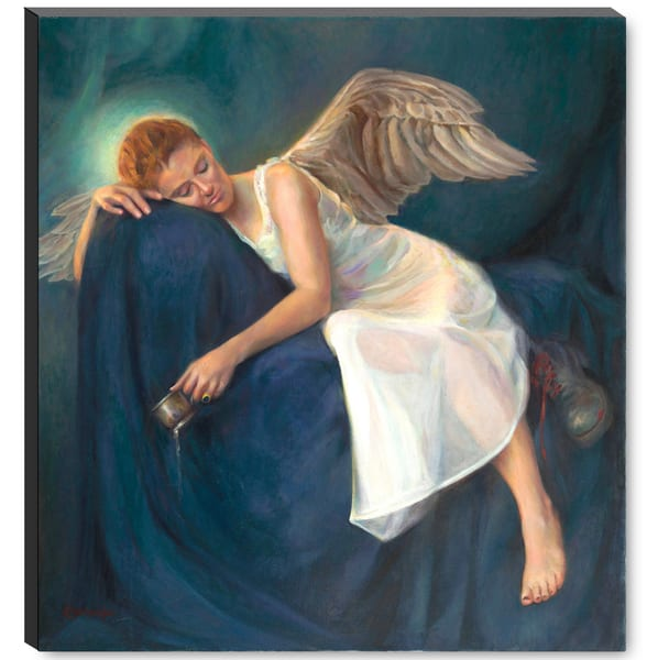 "Large ""Angel Of Soldiers"" Stretched Canvas, Black Edges 22x24 Inches Art 
