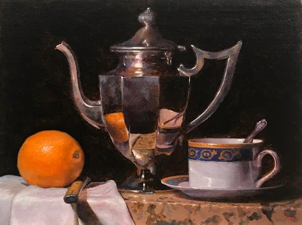 Orange, Knife, Teapot, Teacup Art | Jeff Hayes Fine Arts