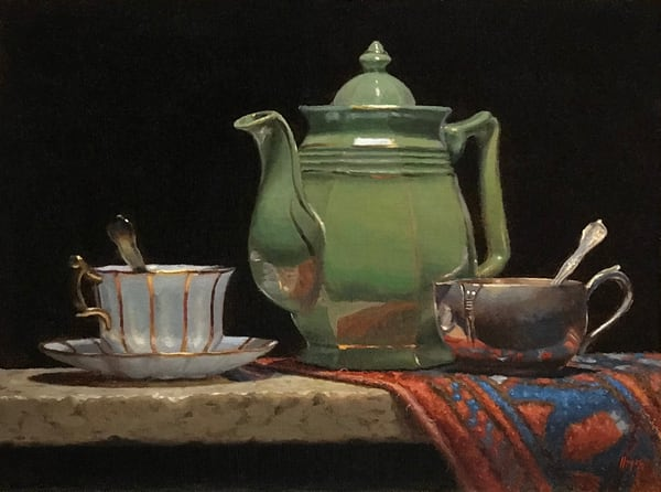 Green Teapot With Oriental Rug Art | Jeff Hayes Fine Arts