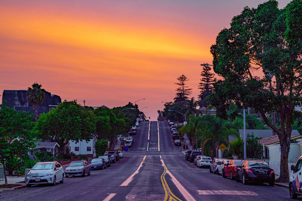Fire in the Sky Sunset in University Heights, San Diego by McClean Photography