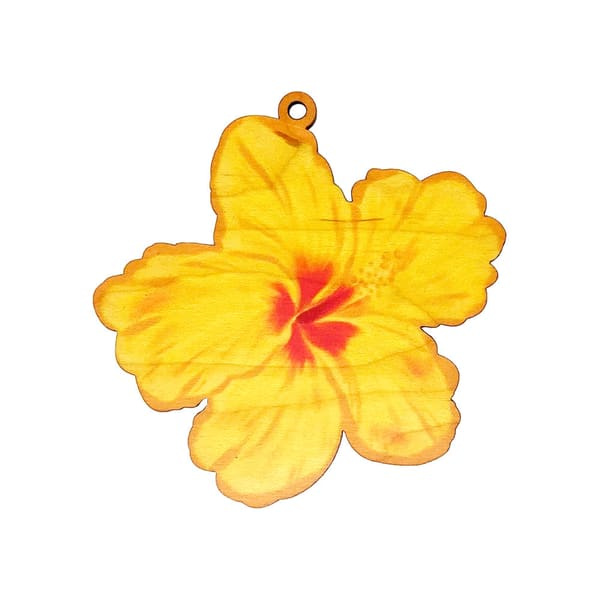 Yellow Painted Hibiscus Ornament | Pictures Plus