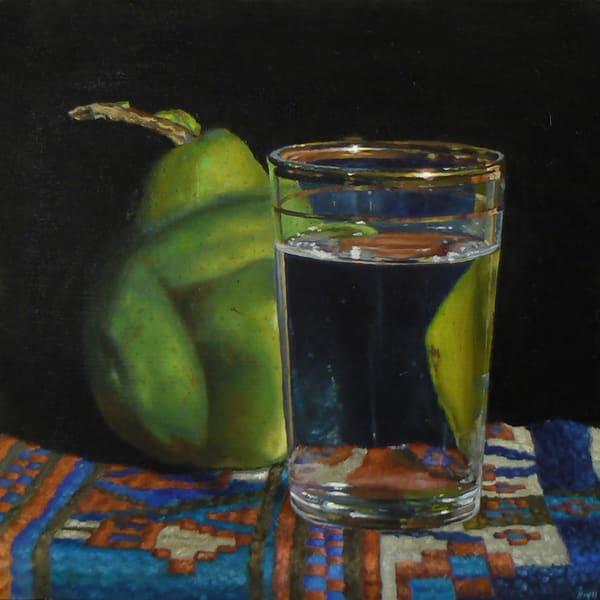 Pear, Waterglass, And Oriental Rug Art | Jeff Hayes Fine Arts