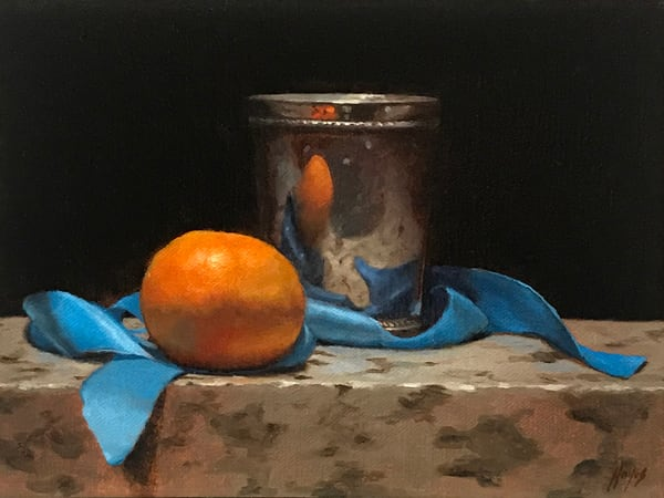 Blue Ribbon, Orange, And Silver Art | Jeff Hayes Fine Arts