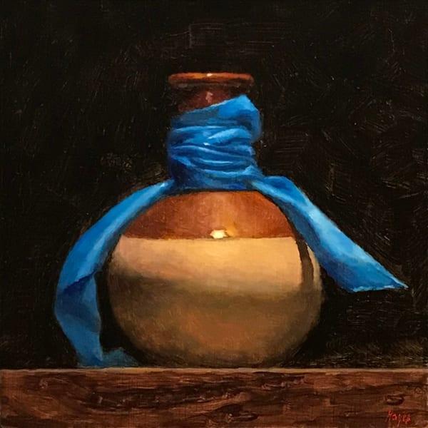 Vase And Blue Ribbon Art | Jeff Hayes Fine Arts