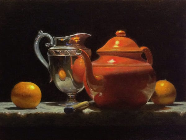Oranges, Silver, And Red Teapot Art | Jeff Hayes Fine Arts