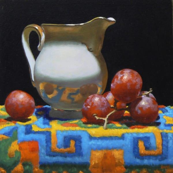 Creamer, Grapes, Tibetan Rug Art | Jeff Hayes Fine Arts