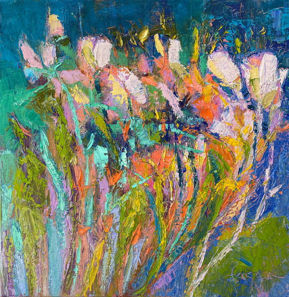 Abstract Flower Painting, Original Oil by Dorothy Fagan