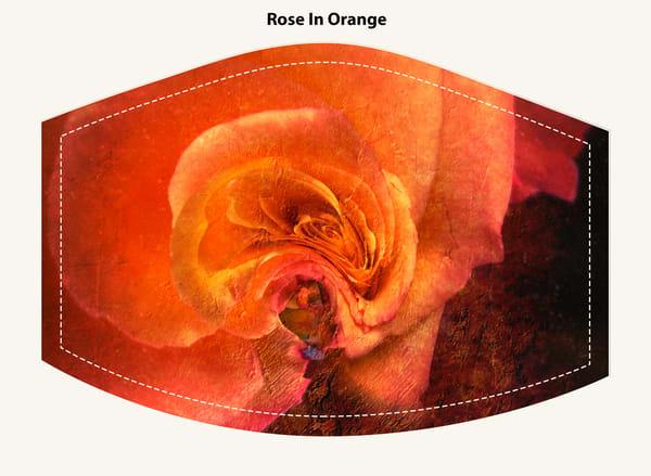 Rose In Orange Face Mask