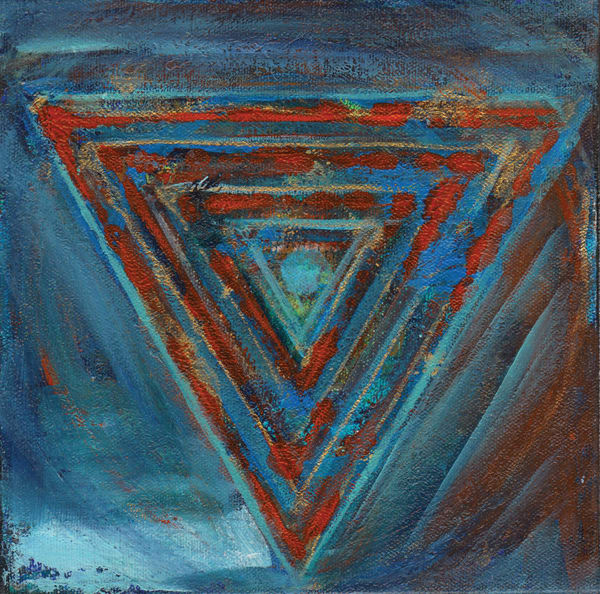 painting, yantra, triangles, kali, red, blue
