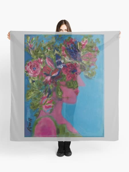 Floral Goddess Original Art Scarf Designed by Artist