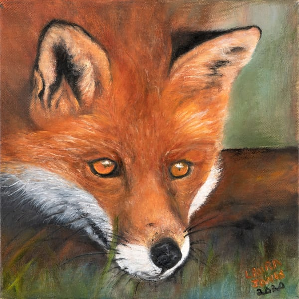Intriguing I Spy Realistic Oil Painting of a Red Fox