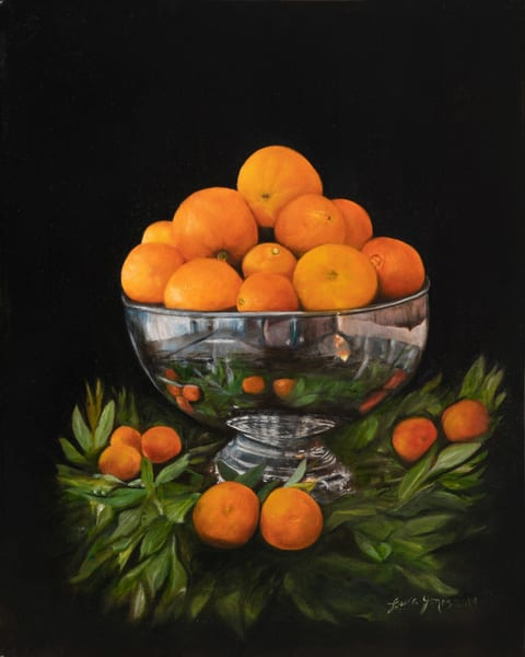 Deliciously Realistic Citrus in Silver Oil Painting Original