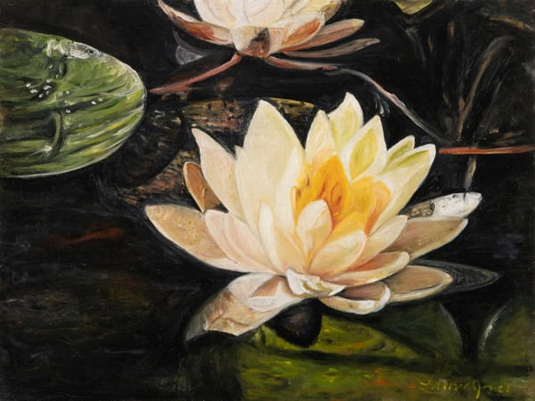 Tranquil Lotus Realistic Print from the Oil Painting Original