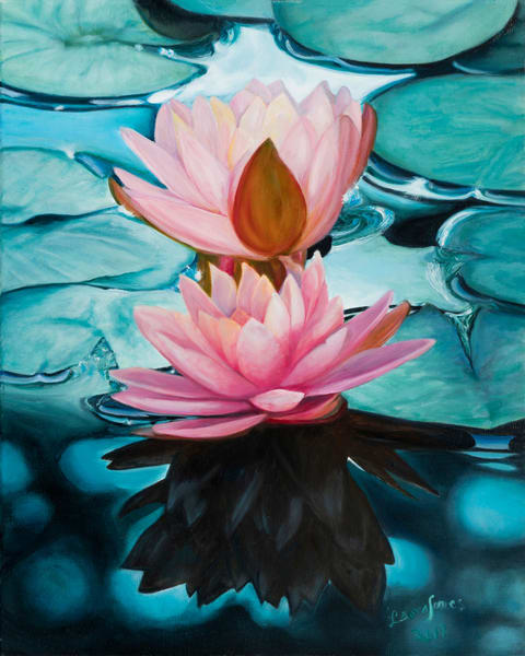 Uniquely Colored Water Lilies Realistic Framed Oil Painting Original