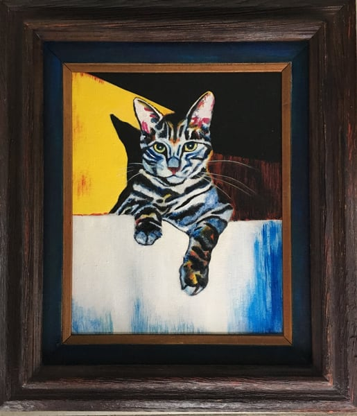 """""""Cat in a Sink"""" Oil Painting by Emily Gilman Beezley"""