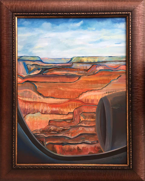Airplane Window View of the Grand Canyon Original Oil on Linen Canvas Painting