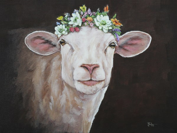 ewe with a crown of flowers