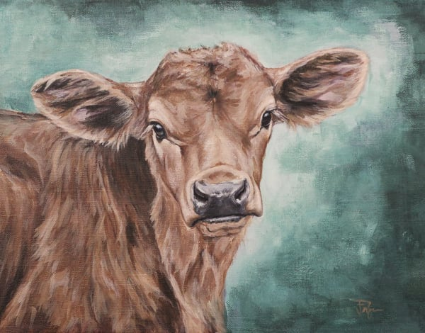 painting of a sweet calf