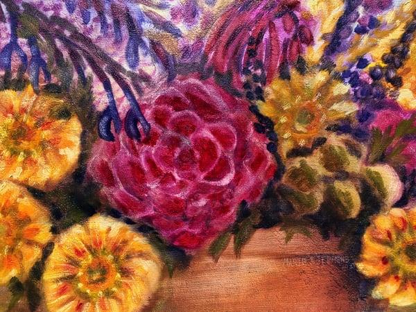 Gallardia, Salvia, And Roses Print Art | Marie Stephens Art