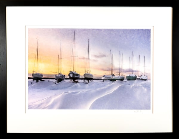 sailboats, winter, yellow, warm, marina,
