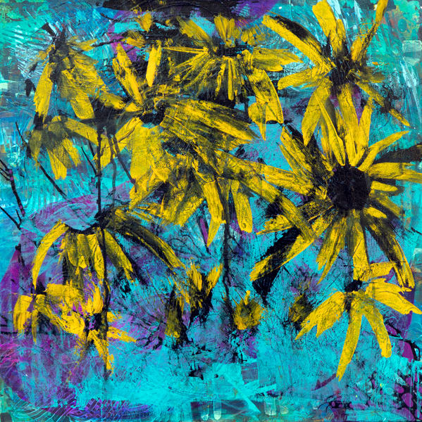Sun Flowers In The Boise Hills Art | Becka Watkins Art