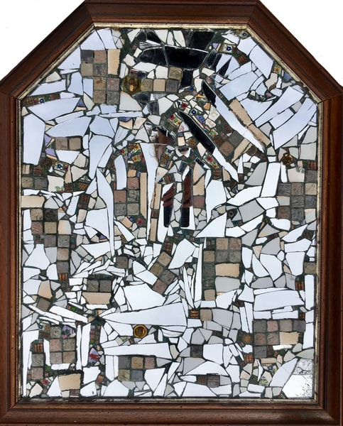 Mirror Shrine Original Mosaic with Mirror Fragments, Tile and Found Objects