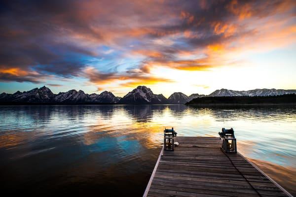 Jackson Lake Dock Sunset Photograph Grand Teton
