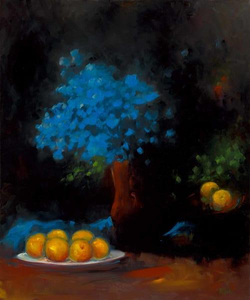 Blue Petals and Peaches
