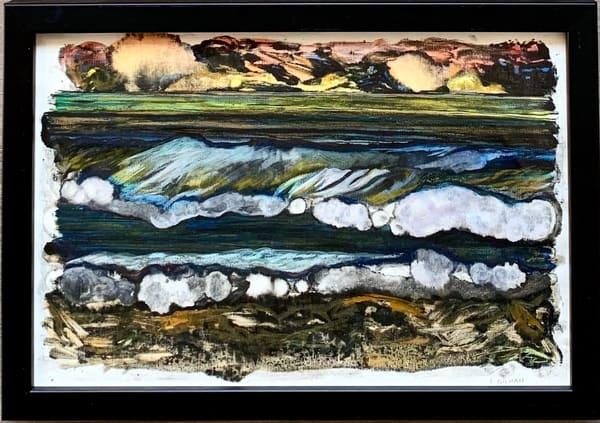 """Coastal Elements - Sunset"" Original Mixed Media Monotype Work on Paper"