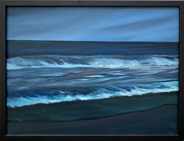 """Ocean at Dusk"" Original Oil on Linen Oceanscape"