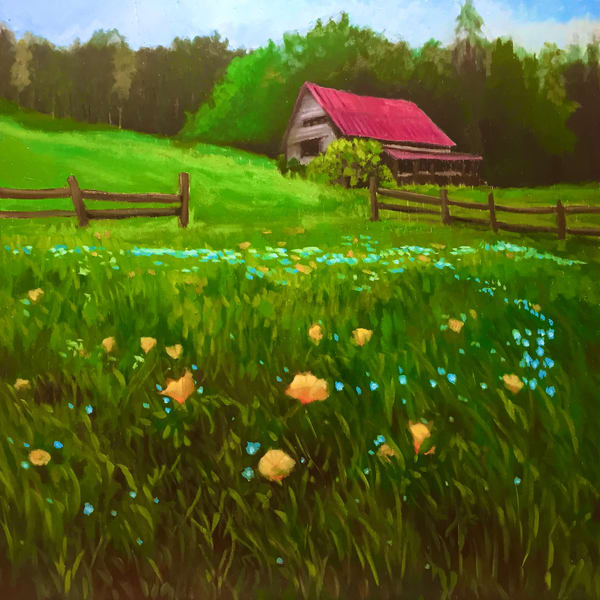 Red Roof and Wildflowers Original Fine Art Landscape