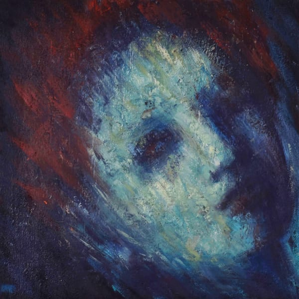 face, painting,blue