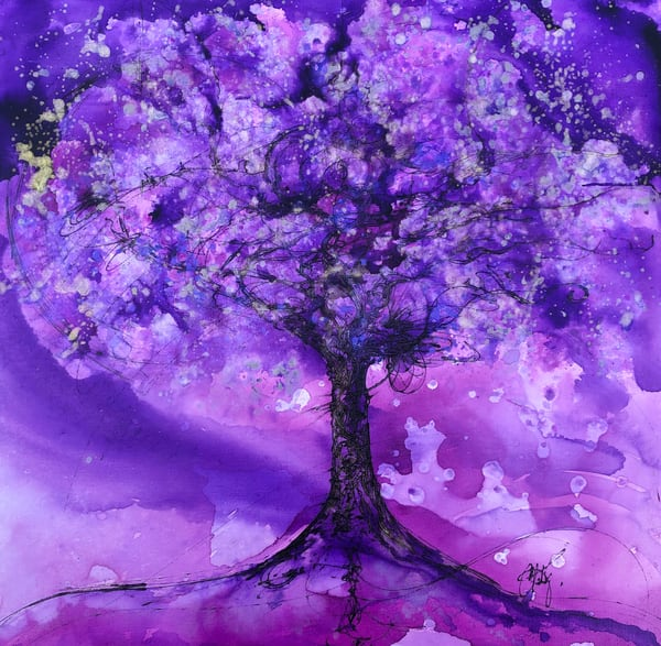 Purple Green Shift Tree Art | Christy! Studios