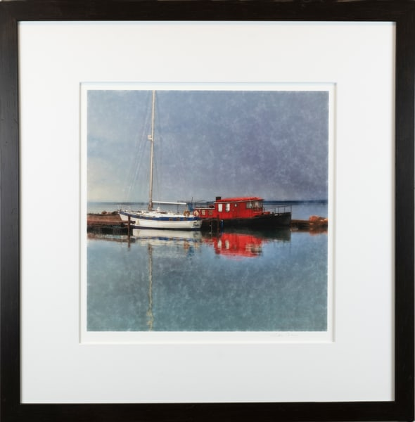 Red, white and blue signed fine art image framed in black wood with non-glare glass.