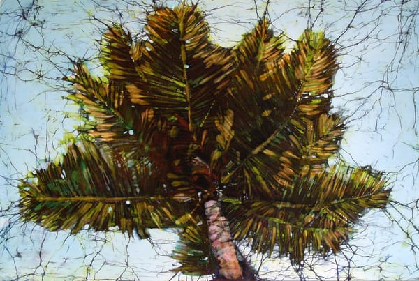 """Cocos Gorda,"" a print of a batik painting featuring a coconut palm by artist Muffy Clark Gill"