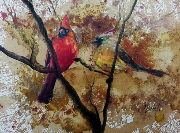 Cardinal Couple In Autumn Art | Christy! Studios