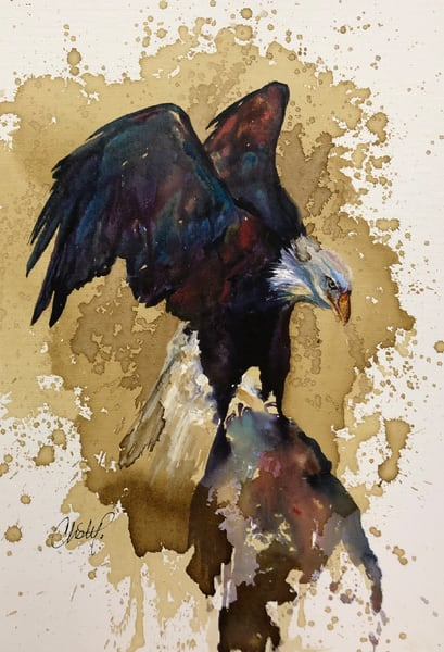 Bald Eagle Perched On Rock Art | Christy! Studios